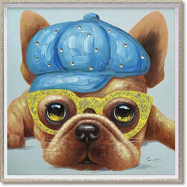 「テリードッグ」Mサイズ ・油絵・ハンドペイント・イヌ・いぬ・犬・オイルペイントモダンアート[絵画通販]【絵のある暮らし】【壁掛けフック付き】