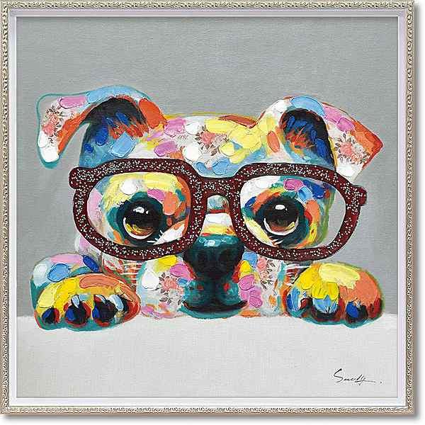 「グリッターグラス」Mサイズ ・油絵・ハンドペイント・イヌ・いぬ・犬・オイルペイントモダンアート[絵画通販]【絵のある暮らし】【壁掛けフック付き】