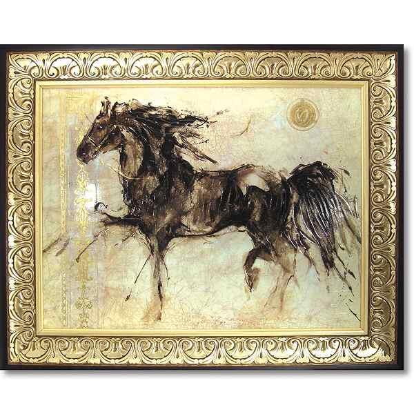 【代引不可】「ウィングラン」ゴットフライド マルタ 馬・特殊ゲル加工アート[絵画通販]馬の絵 ウマ 絵画 絵【壁掛けフック付き】【絵のある暮らし】