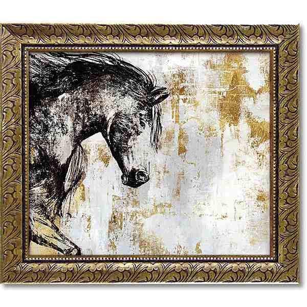 「イクエストリアンゴールド1」PIスタジオ 特殊ゲル加工アート[絵画通販・馬]うま ウマ 馬 アート 絵 絵画【壁掛けフック付き】【絵のある暮らし】