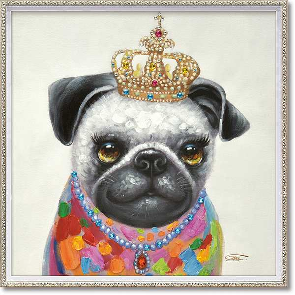 「キング」Mサイズ オイルペイントモダンアート[絵画通販]犬・いぬ・イヌ・ハンドメイド・油絵・動物・絵【絵のある暮らし】【壁掛けフック付き】