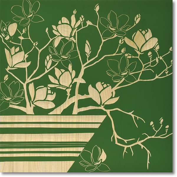 ウッドスカルプチャーアート・マグノリアwithベース(ロハスGR)【絵のある暮らし】【壁掛けフックつき】