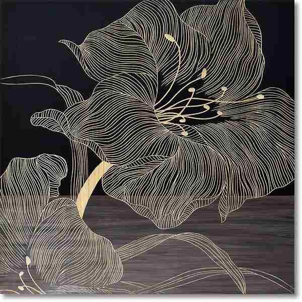 ウッドスカルプチャーアート・ジャンボリリー(BK+NP)【絵のある暮らし】【壁掛けフックつき】