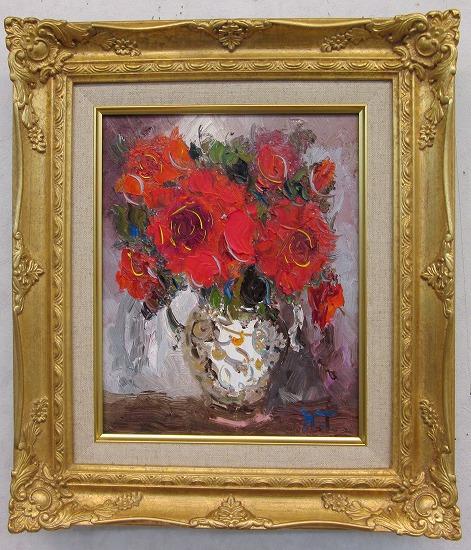 「バラ」(赤い薔薇)谷口春彦【通信販売】(F3サイズ油彩画[油絵](直筆油彩画)花風水・開運風水画・静物画[絵画通販])【壁掛けフック付き】【絵のある暮らし】