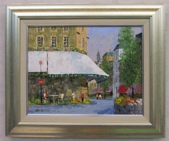 「街角のカフェ」黒沢久(F6サイズ油彩画[油絵]・外国風景画(ヨーロッパ)・フランス・パリ[絵画通販]【壁掛けフック付き】【絵のある暮らし】