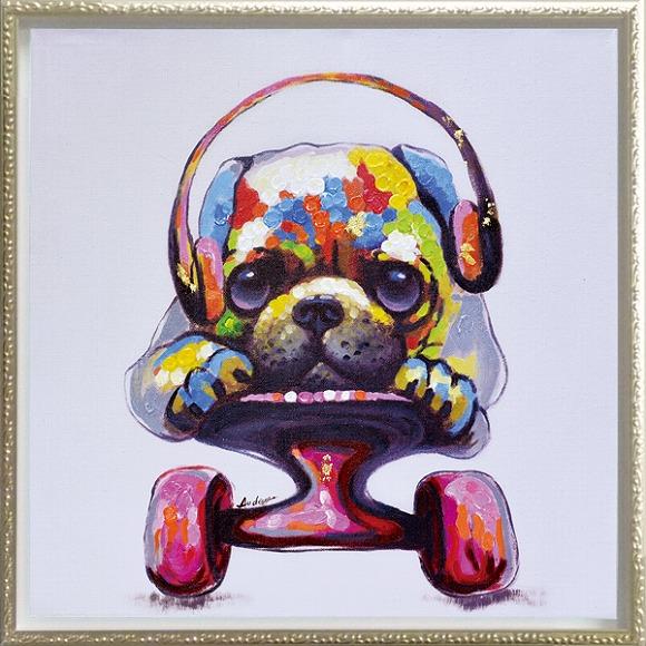 「スケボードッグ」Mサイズ オイルペイントモダンアート・イヌ・いぬ・犬・スケボー・油絵・ハンドメイド・動物・[絵画通販]【絵のある暮らし】【壁掛けフック付き】