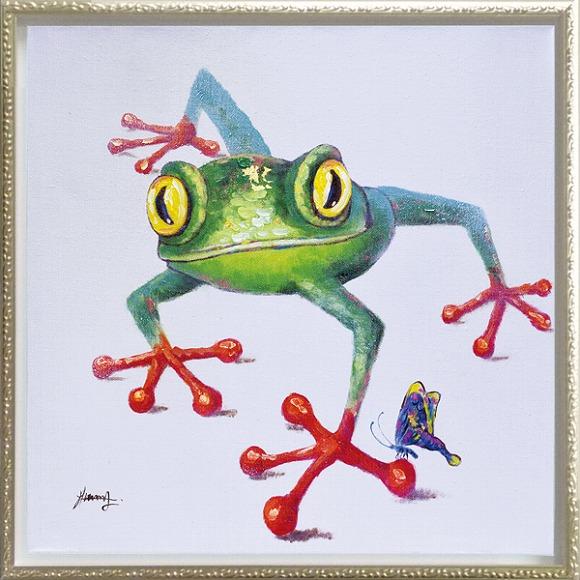 「クロールフロッグ」Mサイズ オイルペイントモダンアート・かえる・カエル・蛙・風水・油絵・絵・ハンドメイド・動物[絵画通販]【絵のある暮らし】【壁掛けフック付き】