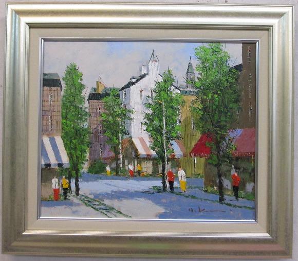 「街角の風景」黒沢久(F8サイズ油彩画[油絵]・外国風景画(ヨーロッパ)・フランス、パリ風景[絵画通販]【壁掛けフック付き】【絵のある暮らし】