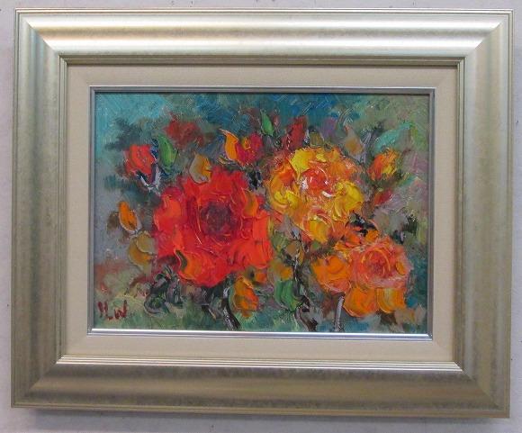 「薔薇」渡部ひでき(F4サイズ油彩画[油絵](直筆油彩画)・静物画・バラ[絵画通販])【絵のある暮らし】【壁掛けフック付き】