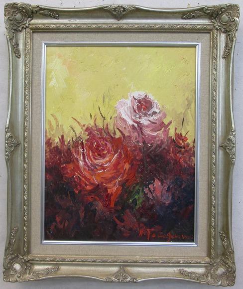 「バラ」(赤い薔薇)谷口春彦【通信販売】(F6サイズ油彩画[油絵](直筆油彩画)花風水・開運風水画・静物画[絵画通販])【壁掛けフック付き】【絵のある暮らし】