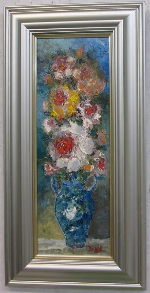 「薔薇」渡部ひでき(Wサムホールサイズ油彩画[油絵](直筆油彩画)静物画・バラ・[絵画通販])【絵のある暮らし】【壁掛けフック付き】
