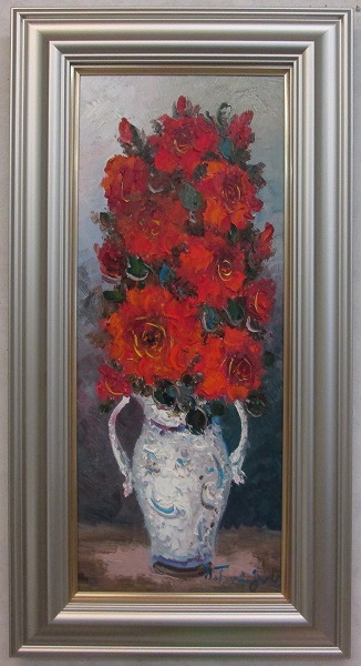 「バラ」(赤い薔薇)谷口春彦(WF3サイズ油彩画[油絵](直筆油彩画)花風水・開運風水画・静物画[絵画通販])【壁掛けフック付き】【絵のある暮らし】