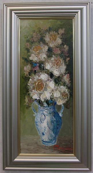 「バラ」(白い薔薇)谷口春彦(WF3サイズ油彩画[油絵](直筆油彩画)花風水・開運風水画・静物画[絵画通販])【絵のある暮らし】【壁掛けフック付き】