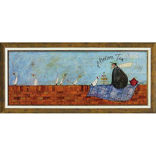 「アフタヌーンティー」サムトフト・可愛い雰囲気の特殊ゲル加工アート・犬・イヌ・いぬ[絵画通販]【壁掛けフック付き】【絵のある暮らし】