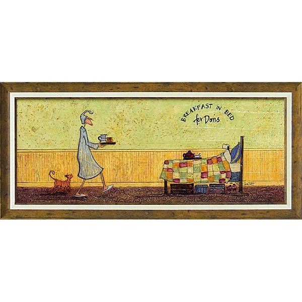 「ドリスとベッドで朝食」サムトフト・可愛い雰囲気の特殊ゲル加工アート[絵画通販]【壁掛けフック付き】【絵のある暮らし】