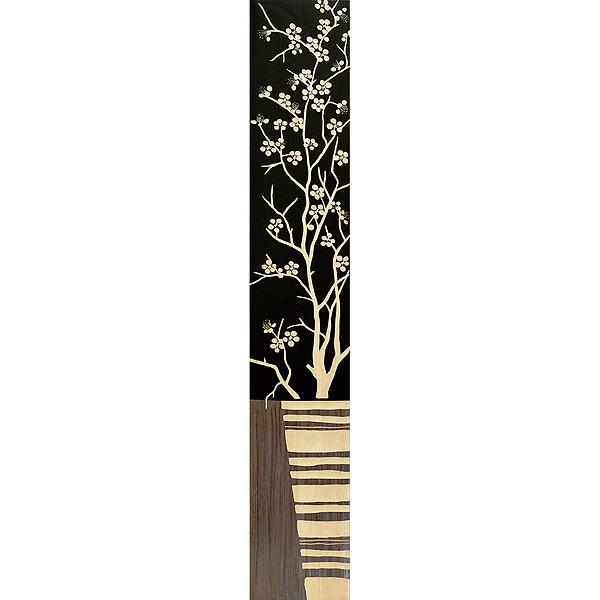 ウッドスカルプチャーアート・ジャパニーズフラワー2(bk+np)[絵画通販]【絵のある暮らし】【壁掛けフックつき】