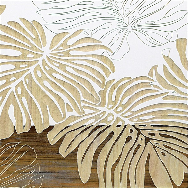 ウッドスカルプチャーアート・ワイルドモンステラ(wh+np)[絵画通販]【絵のある暮らし】【壁掛けフックつき】