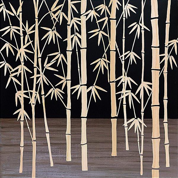 ウッドスカルプチャーアート・フォレストバンブー(bk+np)[絵画通販]【絵のある暮らし】【壁掛けフックつき】