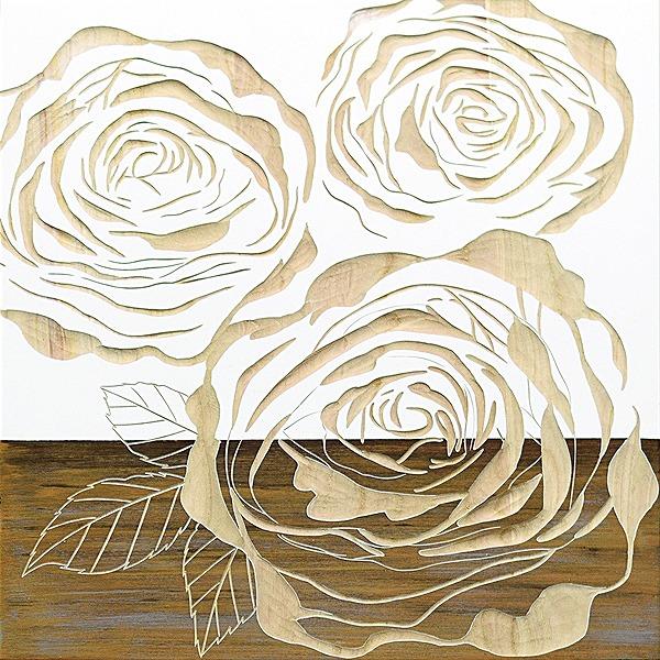 ウッドスカルプチャーアート・フルローゼズ2(wh+np)[絵画通販]ばら 薔薇 バラ【絵のある暮らし】【壁掛けフックつき】