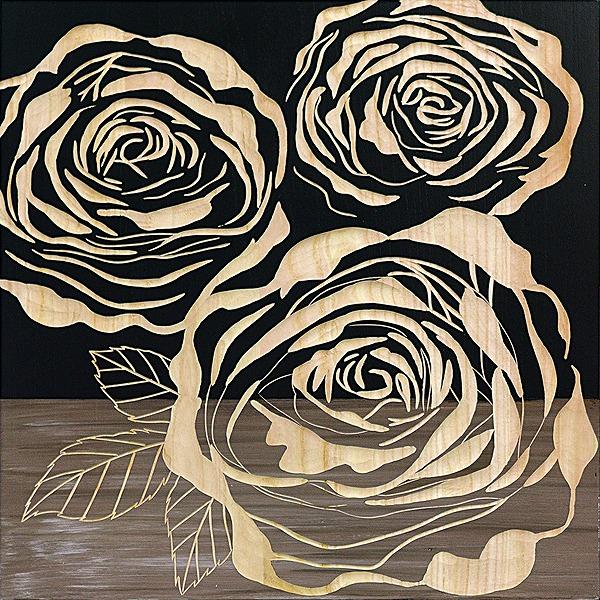 ウッドスカルプチャーアート・フルローゼズ2(bk+np)[絵画通販]バラ 薔薇 ばら【絵のある暮らし】【壁掛けフックつき】