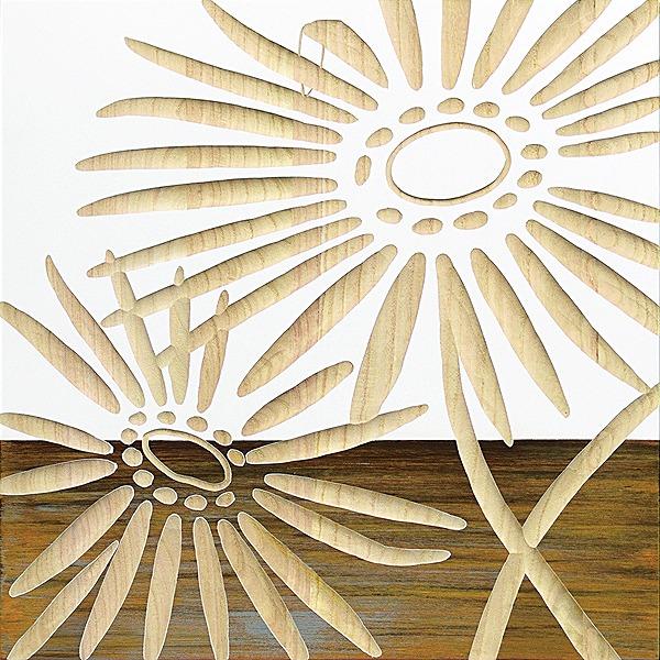 ウッドスカルプチャーアート・ネーチャーガーベラ2(wh+np)[絵画通販]ガーベラ 花【絵のある暮らし】【壁掛けフックつき】