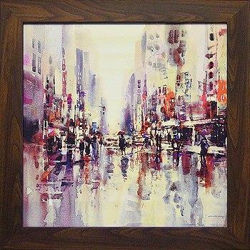 「シティレイン1」 ブレント ヘイトン 風景画アートポスター ゲル加工絵画作品[絵画]【壁掛けフック付き】【絵のある暮らし】