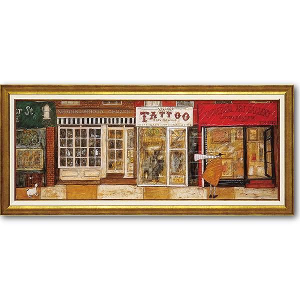 「あなたの住む街角で」サムトフト・可愛い雰囲気の特殊ゲル加工アート[絵画通販]犬・イヌ・いぬ【壁掛けフック付き】【絵のある暮らし】
