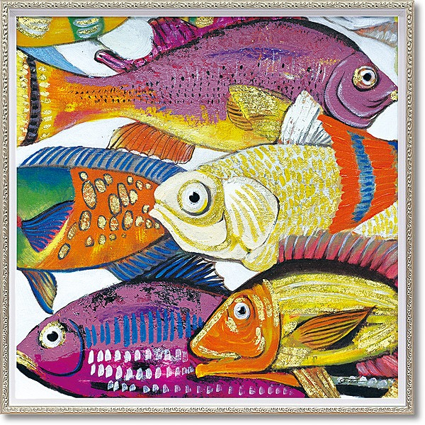 「アンダーザシー1」Mサイズ ・油絵・ハンドペイント・魚・フィッシュ・オイルペイントモダンアート[絵画通販]【絵のある暮らし】【壁掛けフック付き】