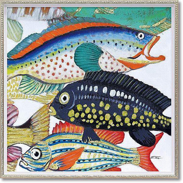 「アンダーザシー2」Mサイズ ・油絵・ハンドペイント・魚・フィッシュ・オイルペイントモダンアート[絵画通販]【絵のある暮らし】【壁掛けフック付き】