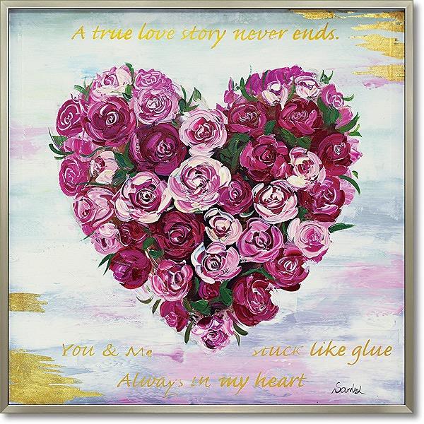 【代引不可】【お届け日時間指定不可】「ハートローズ」薔薇・バラ・油絵・ハンドメイド・オイルペイントモダンアート[絵画通販]【絵のある暮らし】【壁掛けフック付き】