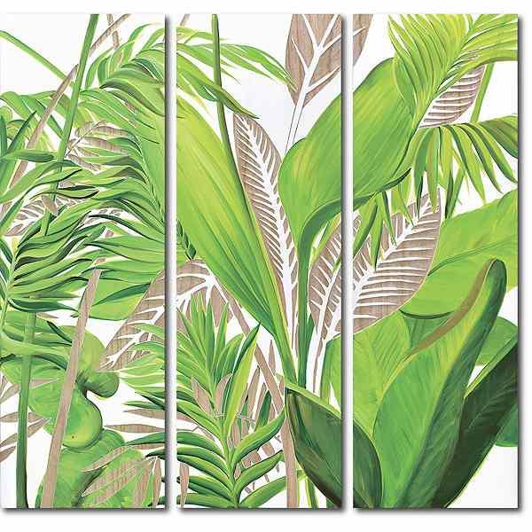 ウッドスカルプチャーアート・パームツリー 3枚セット[絵画通販]【絵のある暮らし】【壁掛けフックつき】