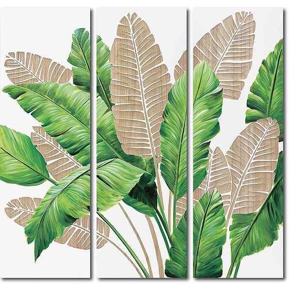 ウッドスカルプチャーアート バナナリーブス 3枚セット 壁掛けフックつき ☆新作入荷☆新品 絵のある暮らし 日本 絵画通販
