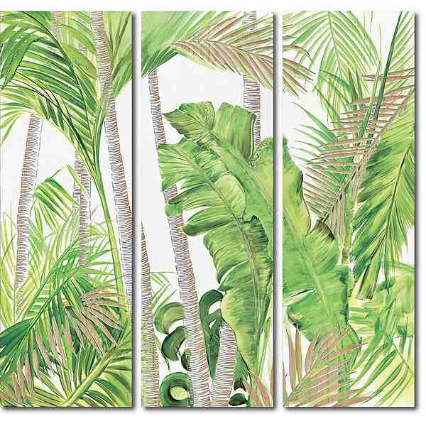 ウッドスカルプチャーアート・パーム&バナナ 3枚セット[絵画通販]【絵のある暮らし】【壁掛けフックつき】