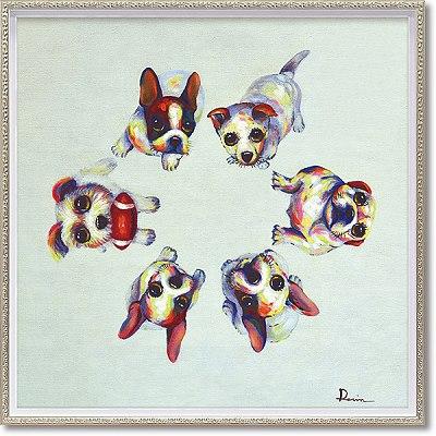 「ドッグサークル」Mサイズ オイルペイントモダンアート[絵画通販]犬・いぬ・イヌ・ハンドメイド・油絵・動物・絵【絵のある暮らし】【壁掛けフック付き】