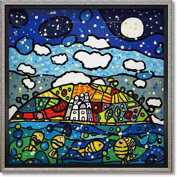 「イゾラデイソーニ」ウォーラス 風景画アートポスター ゲル加工絵画作品[絵画通販]【壁掛けフック付き】【絵のある暮らし】