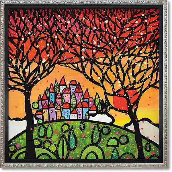「アルベリグアルダノ」ウォーラス 風景画アートポスター ゲル加工絵画作品[絵画通販]【壁掛けフック付き】【絵のある暮らし】