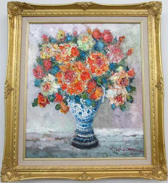 「薔薇」渡部ひでき F10サイズ油彩画[油絵](直筆油彩画)・静物画・バラ[絵画通販]【絵のある暮らし】【壁掛けフック付き】