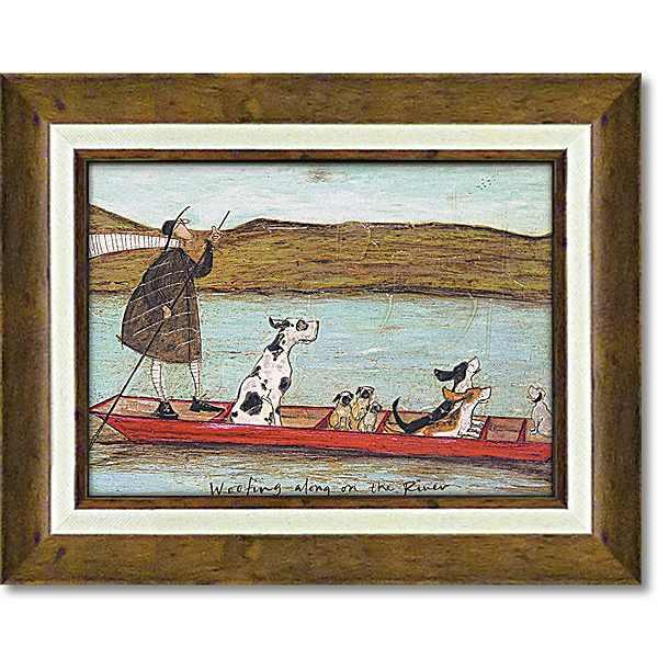「わんわんリバークルーズ」サムトフト 可愛い雰囲気の特殊ゲル加工アート・犬・イヌ・いぬ[絵画通販]【壁掛けフック付き】【絵のある暮らし】