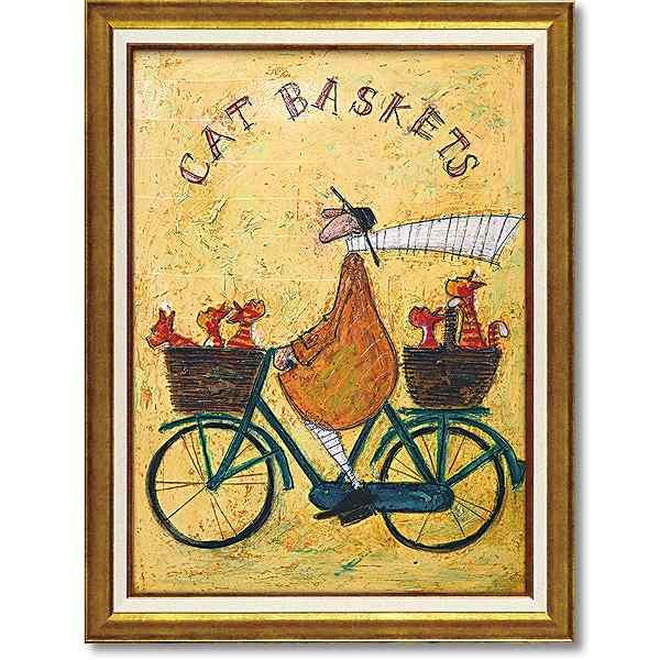 「キャットバスケット」サムトフト 可愛い雰囲気の特殊ゲル加工アート[絵画通販]【壁掛けフック付き】【絵のある暮らし】ねこ・ネコ・猫・絵画