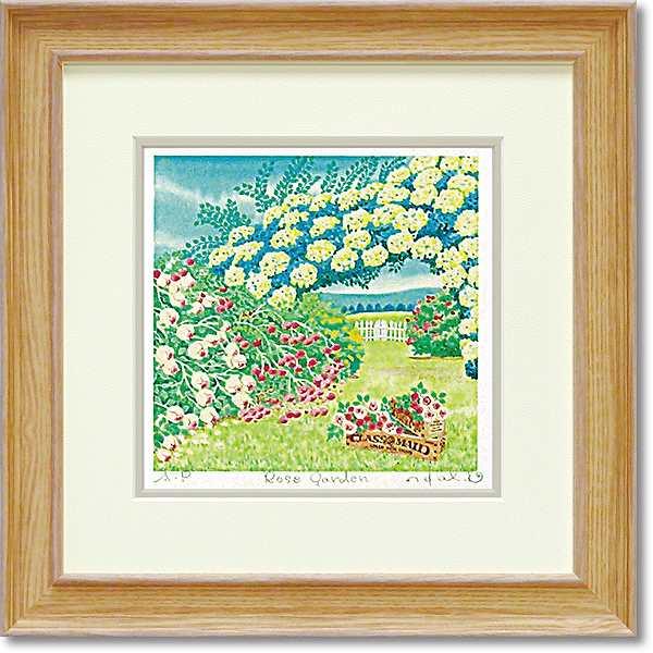「Rose garden」Mサイズ くりのきはるみ 【通信販売】くりのきはるみ版画作品[絵画通販]栗乃木ハルミ【絵のある暮らし】【壁掛けフックつき】