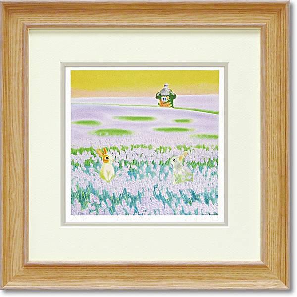 「Lavender」Mサイズ くりのきはるみ 【通信販売】くりのきはるみ版画作品[絵画通販])栗乃木ハルミ ラベンダー うさぎ ウサギ 絵 絵画 額【絵のある暮らし】【壁掛けフックつき】