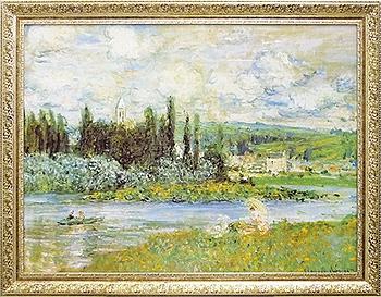 【代引不可】【お届け日時間指定不可】「Vetheuil sur Seine 1880」モネ【通信販売】(世界の名画・モネ アートポスター[絵画通販])【壁掛けフック付き】【絵のある暮らし】