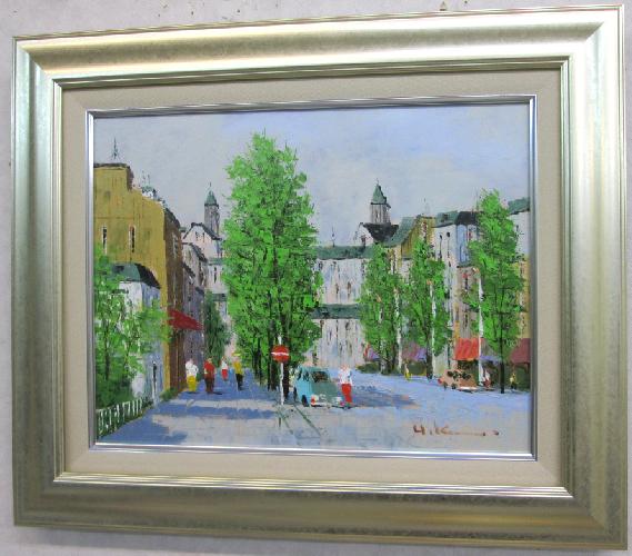 「並木路のある風景」(ムフタフ通り)黒沢久(F6サイズ油彩画[油絵](直筆油彩画)・外国風景画(ヨーロッパ)・フランス・パリ[絵画通販])【壁掛けフック付き】【絵のある暮らし】