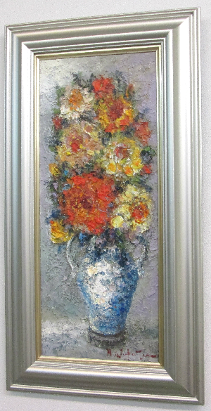 「薔薇」渡部ひでき(WF3サイズ油彩画[油絵](直筆油彩画)静物画・バラ[絵画通販])【壁掛けフック付き】【絵のある暮らし】