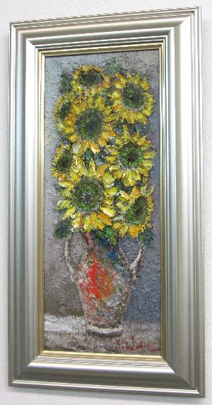 「向日葵」(ひまわり)渡部ひでき WF3サイズ油彩画[油絵](直筆油彩画)静物画・ひまわり[絵画通販]【壁掛けフック付き】【絵のある暮らし】