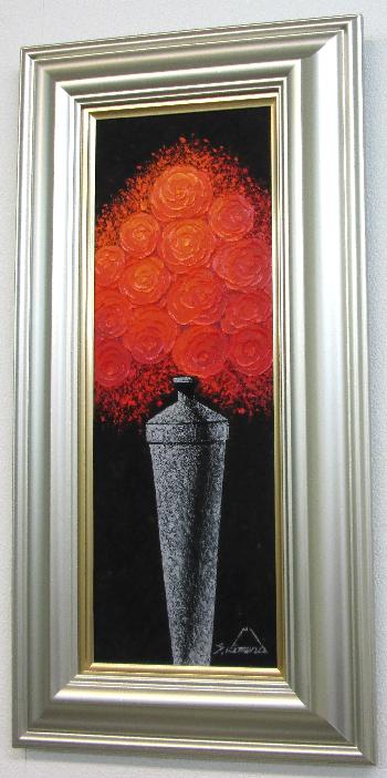 「薔薇」~赤いバラ~木村茂(Wサムホールサイズ油彩画[油絵](直筆油彩画)縦長作品・開運風水画・静物・バラ[絵画通販])【壁掛けフック付き】【絵のある暮らし】