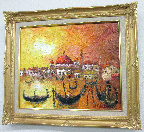 「ベニス」渡部ひでき(F8サイズ油彩画[油絵]・外国風景画・イタリア(ベニス)[絵画通販]【壁掛けフック付き】【絵のある暮らし】