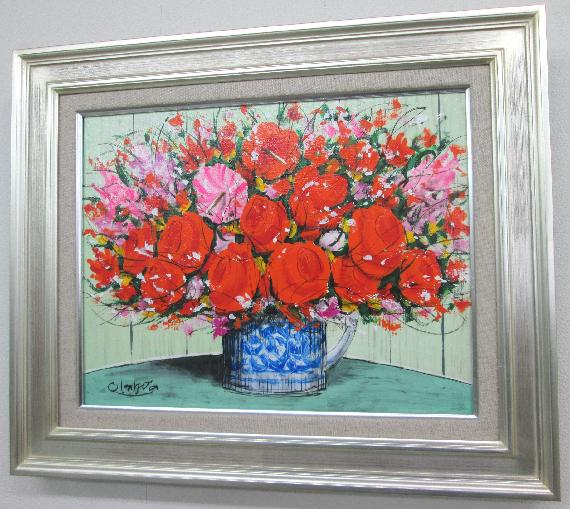 「はな」(赤とピンクのはな)ランキング1位獲得作品 柿田治 (F6サイズ油彩画[油絵](直筆油彩画)花風水・開運風水画・静物画[絵画通販])【壁掛けフック付き】【絵のある暮らし】