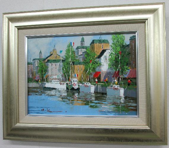 「マルセイユ」黒沢久 F4サイズ油彩画[油絵]・外国風景画(ヨーロッパ)[絵画通販]【壁掛けフック付き】【絵のある暮らし】