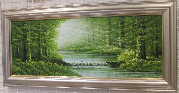 「陽光」横山守 WF6サイズ横長ワイド油彩画[油絵]・ヒーリングアート・森林風景[絵画通販]【壁掛けフック付き】【絵のある暮らし】